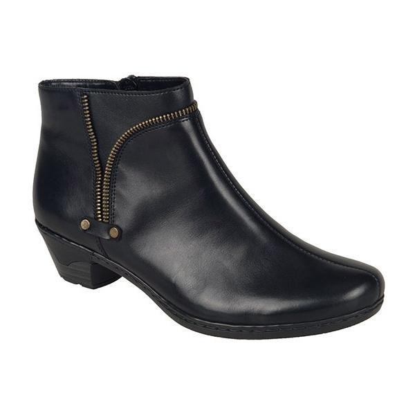 Rieker Cristallin SVL Black Zip Ankle Boots 7697000