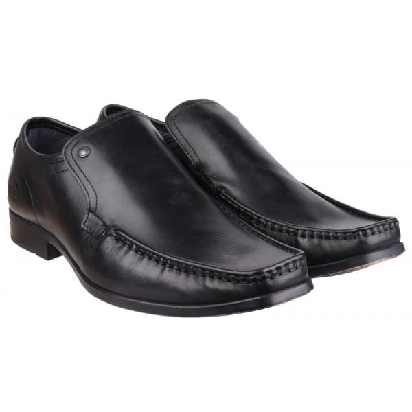 Base London Black Leather Slip On Shoes