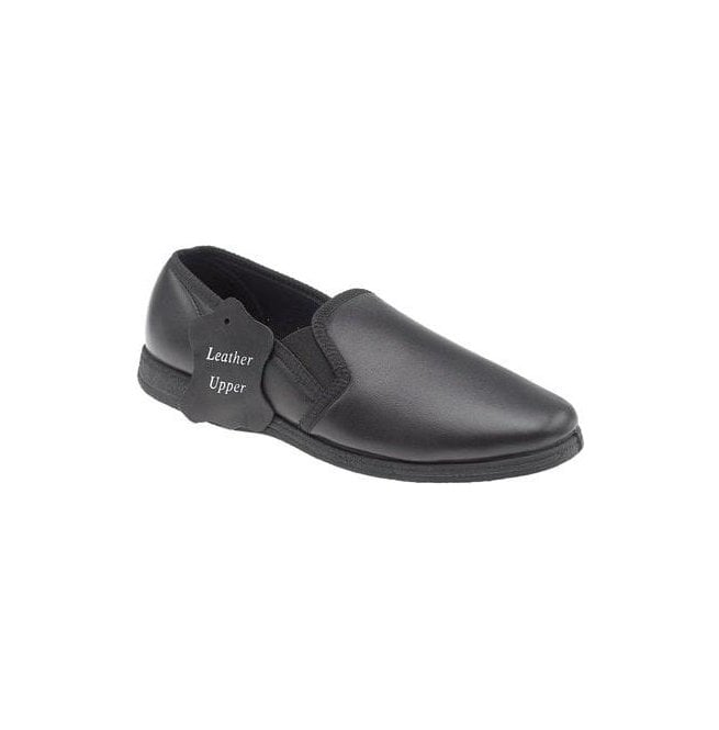 Sleepers Mens Hadley Black Leather Slippers MS414AX