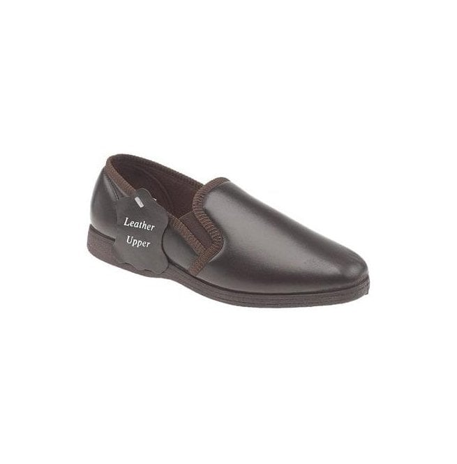 Sleepers Mens Hadley Brown Leather Slippers MS414BX