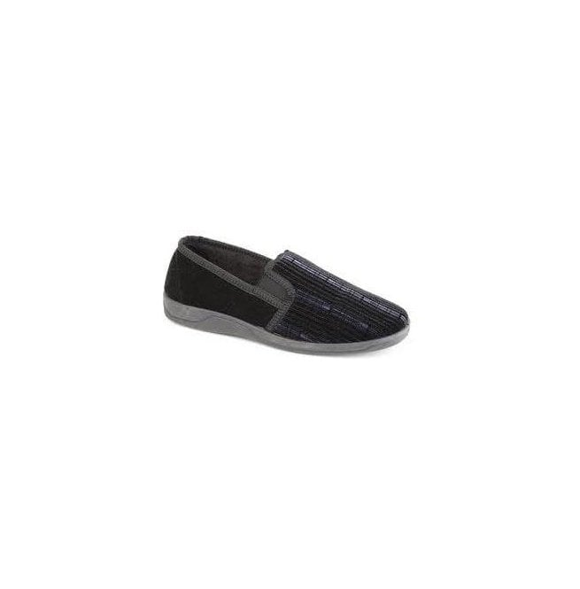 Sleepers Mens Sean Black Velour Slippers MS509A