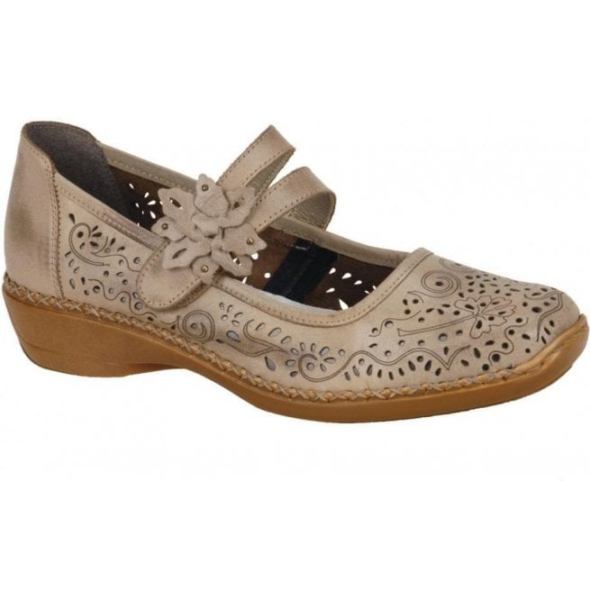 Rieker - Womens Ganges Bar Shoes In Taupe Leather 41372-63