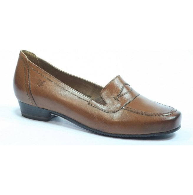 Caprice Womens Marietta Brown Leather Shoes 9-24252-29