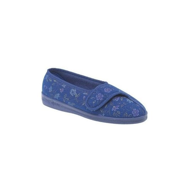 Comfylux Womens Diana Blue Velcro Slippers LS442C