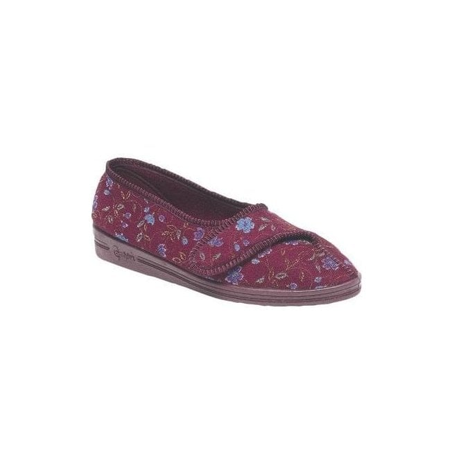 Comfylux Womens Diana Wine Velcro Slippers LS442D