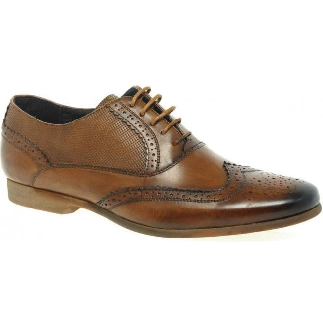 Front Mens Lagoon Tan Lace Up Oxford Brogue Shoes