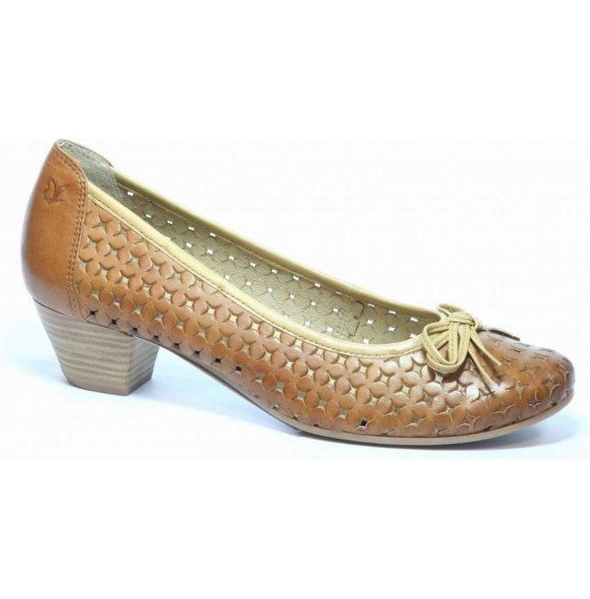 Caprice Womens Sand/Beige Leather Court Shoes 9-22302-20