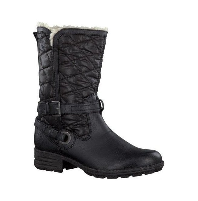 Jana Womens Black Quilted Water Repellent Winter Boots 8-26403-21 001