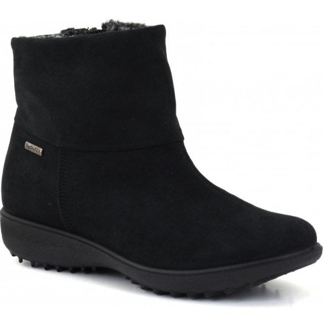 Romika Womens Nadja 101 Black Waterproof Suede Ankle Boots