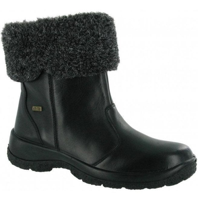 Cotswold Womens Kingham Black Leather Waterproof Boots