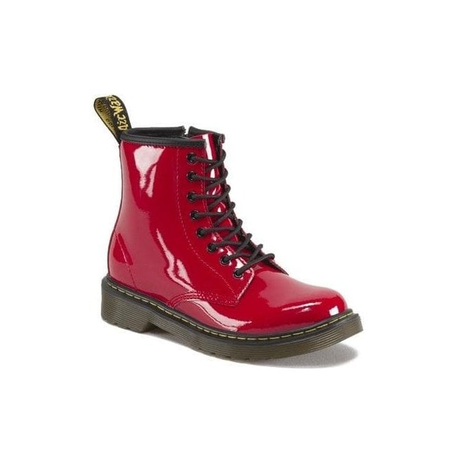 Dr Martens - Kids Delaney Red Patent Leather Junior Boots 15382602