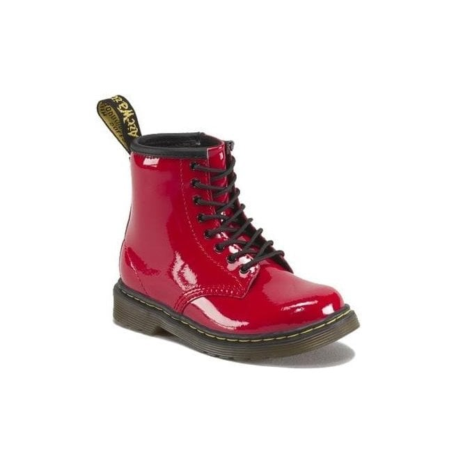Dr Martens - Kids Brooklee Red Patent Leather Kids Boots 15373602