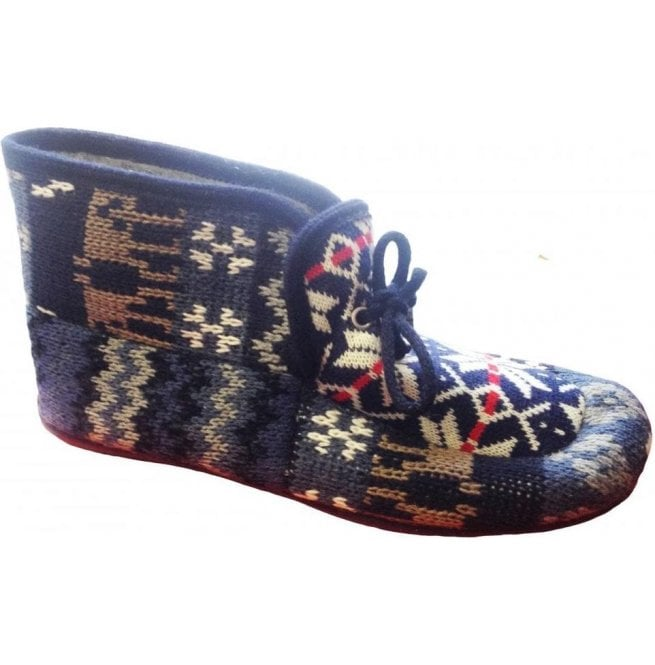 Cotswold Womens Avening Navy Multi Colour Bootie Slippers