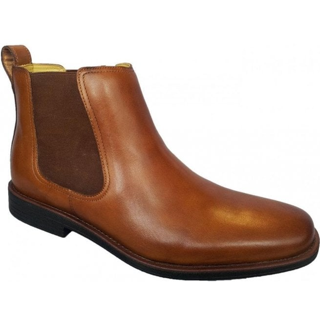 Steptronic Mens Austin Cognac Leather Pull On Chelsea Boots