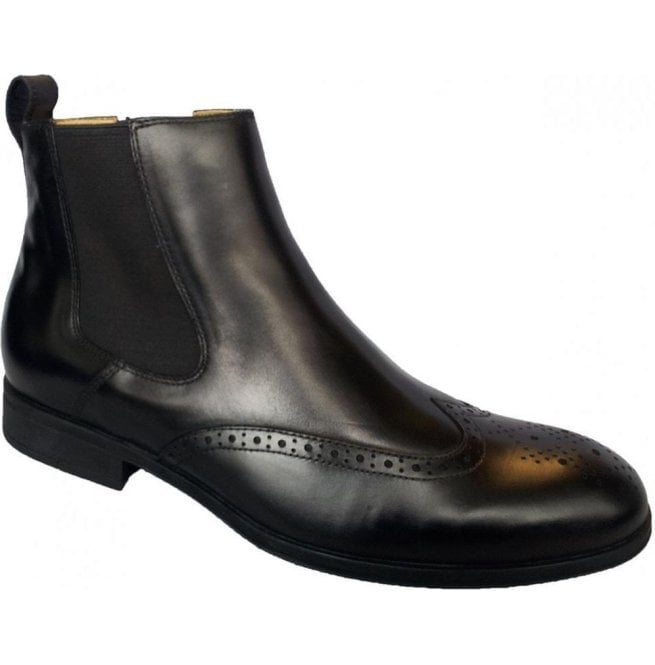 Steptronic Mens Bassett Black Chelsea Boots With Brogue Detail