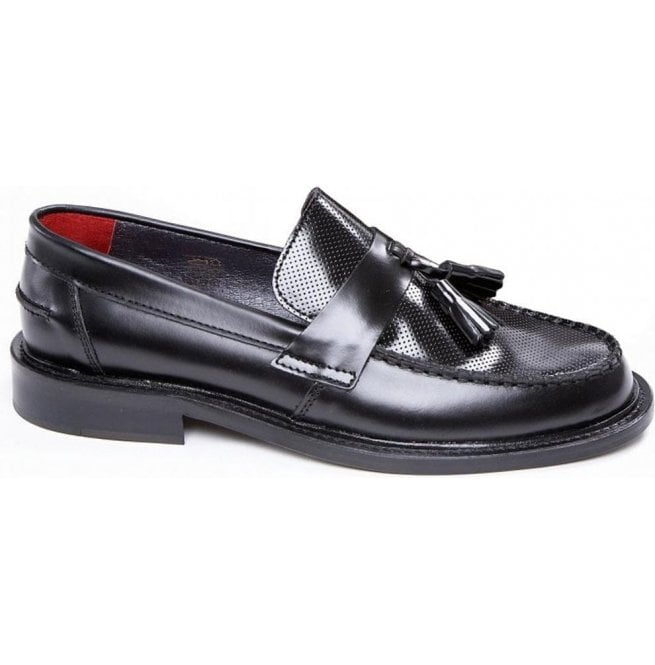 Delicious Junction Mens Ace Punch Black Loafer With Punched Detail