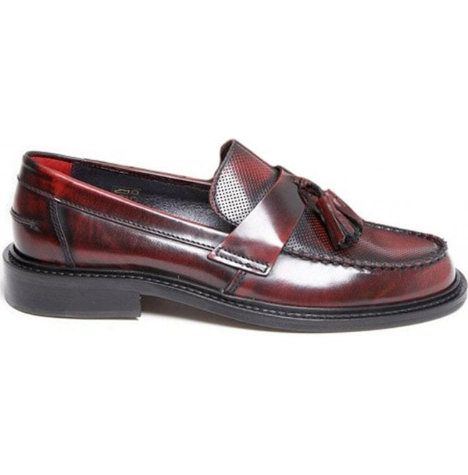 Delicious Junction Mens Ace Punch Bordo Loafer With Punched Detail