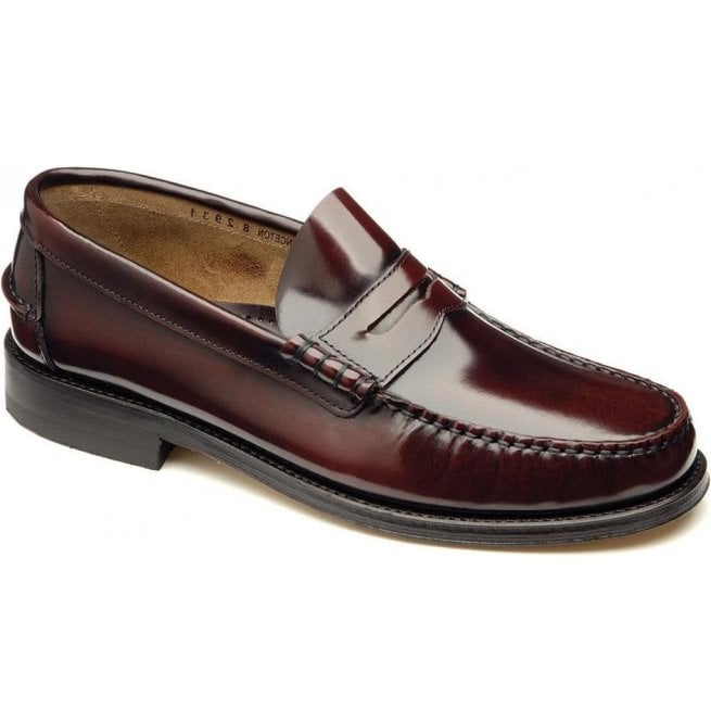 Loake Mens Princeton Moccasin Burgundy Leather Loafers