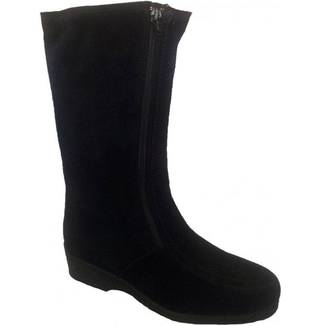 Drapers Womens Ambleside Black Suede Boots Water Resistant