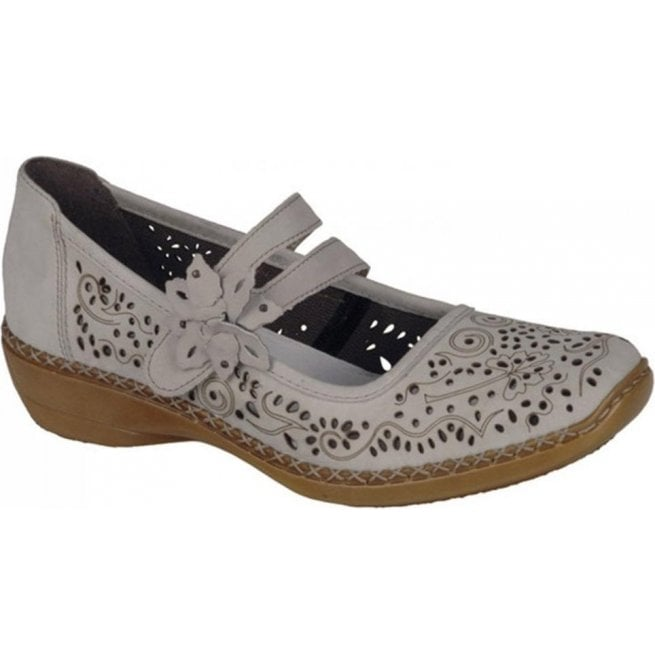Rieker Womens Crash Beige Strap Over Mary Jane Shoes 41372-60