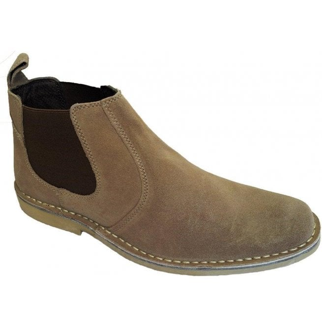 Roamers Mens Taupe Suede Elastic-Sided Desert Boots M765BS