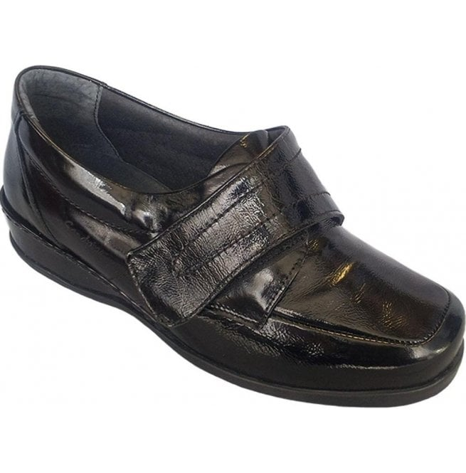 Sandpiper Womens Wardale Black Patent Velcro Shoes