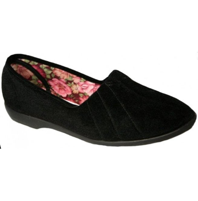 GBS Slippers Womens Audrey Black Slip On Slippers