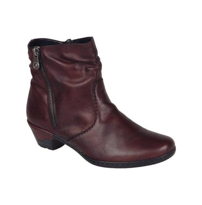 Rieker - Womens Ankle Boots With Side Zip In Burgundy 76960-35