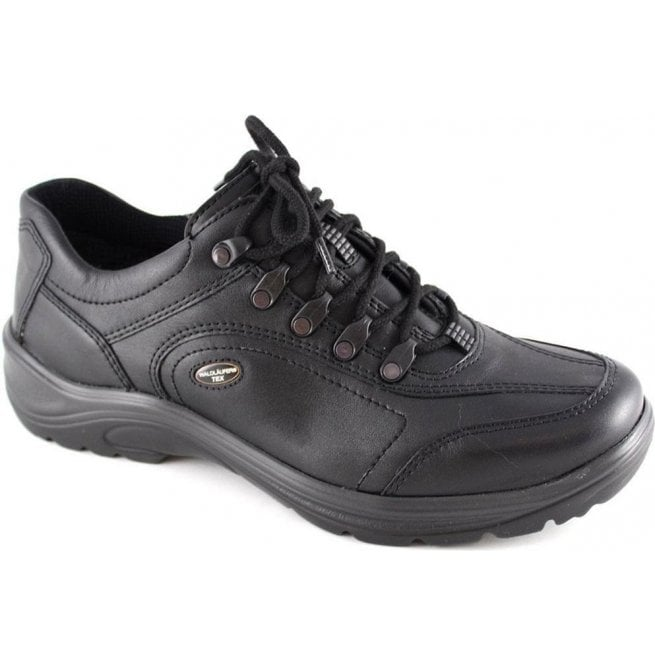 Waldlaufer Mens Hayo Black Leather Waterproof Shoes 415901 174 001