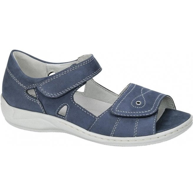 Waldlaufer Womens Hilena Denver Blue Velcro Sandals 582028 191 206