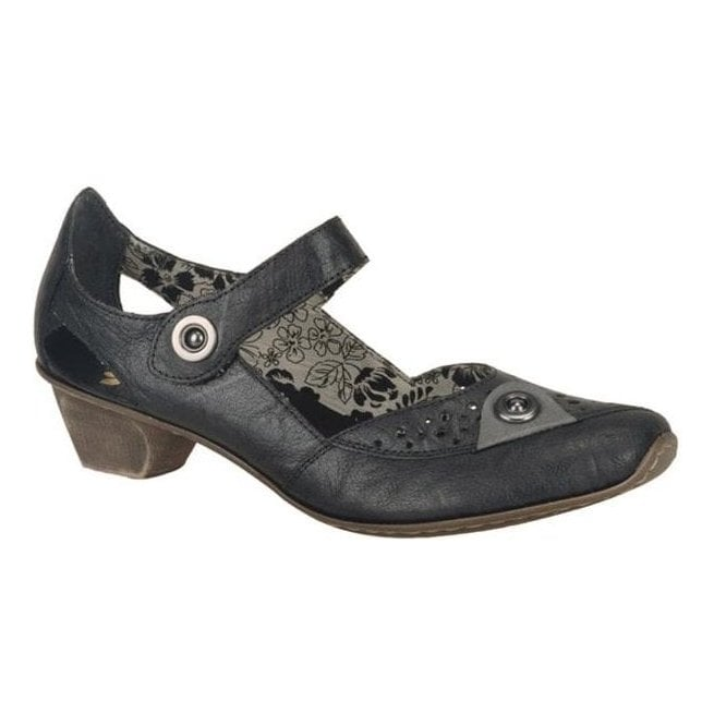 Rieker - Womens Mirjam Black Leather Mary Jane Shoes 49772-00