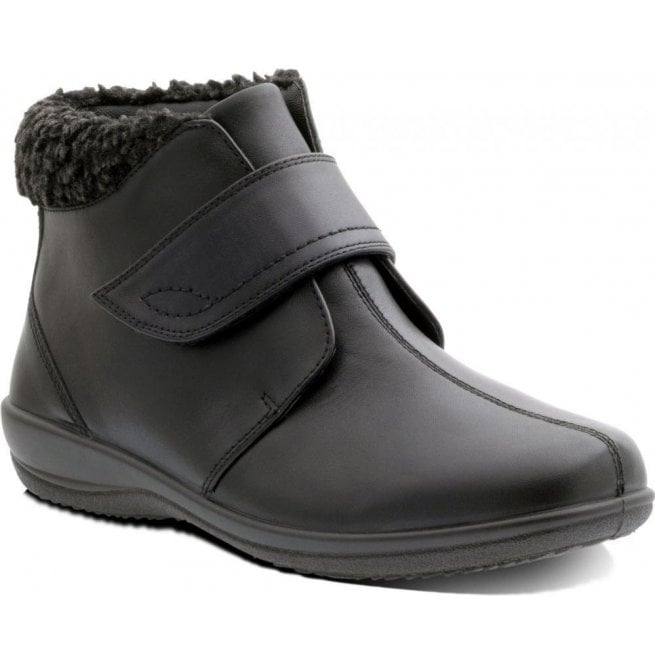 Padders Womens Ida Black Velcro Ankle Boots