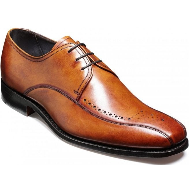 Barker Mens Worthing Rosewood Calf Semi-Brogue Shoes