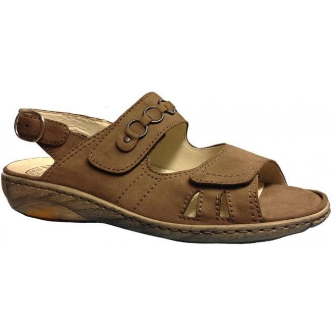 Waldlaufer Womens Garda Denver Biber Velcro Wide Fitting Sandals 210004 191 046
