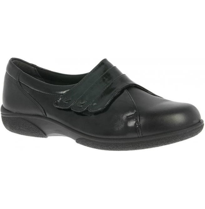 Db Shoes Womens Bakewell Black/Black Patent Wide Fitting Shoes