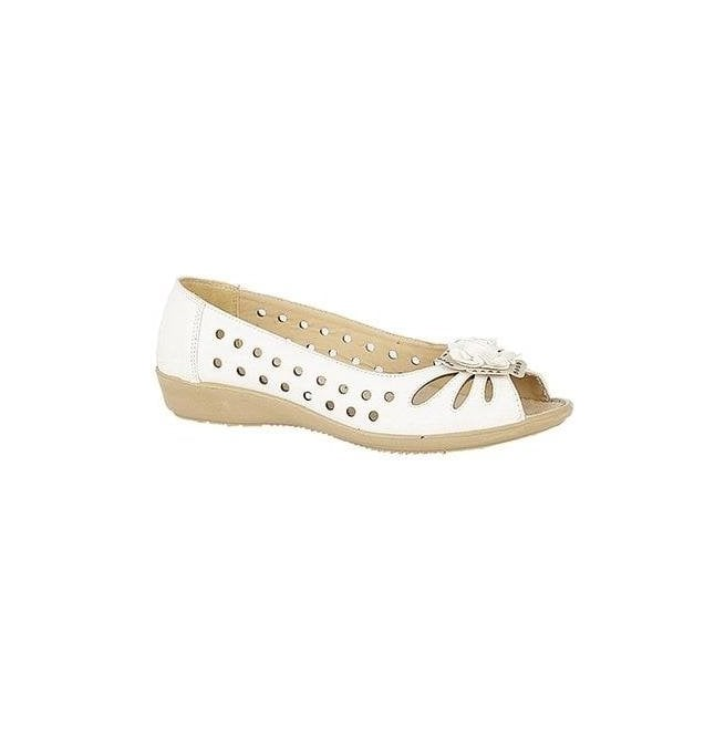 Boulevard Womens White Punched Open Toe Flower Slip On L515G