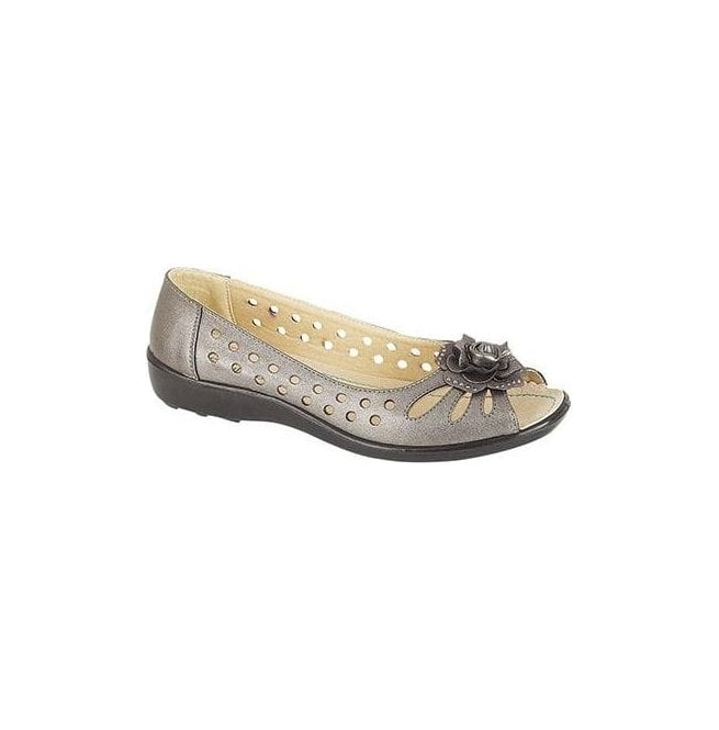 Boulevard Womens Pewter Punched Open Toe Flower Slip On L515FS