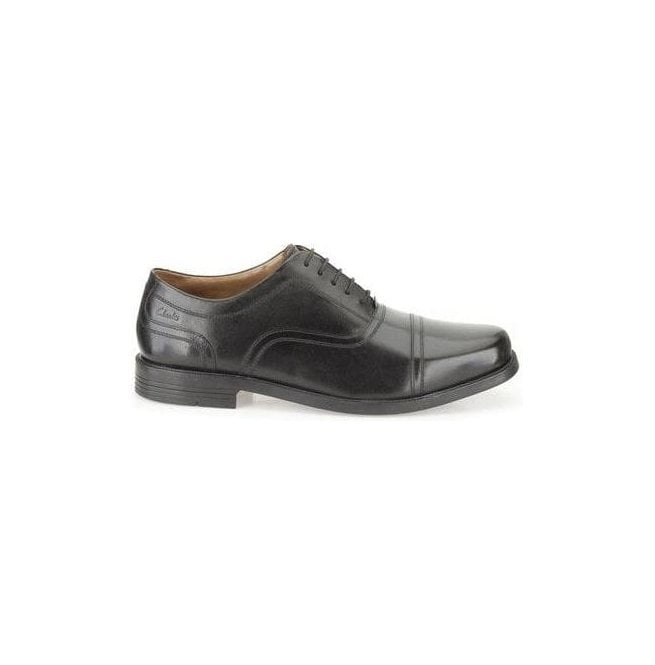 Clarks Mens Beeston Cap Black Leather Formal Shoes