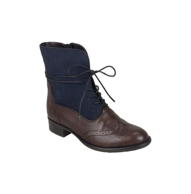 Remonte Womens Cristallin Brown/Navy Lace Up Ankle Boots R6477-25