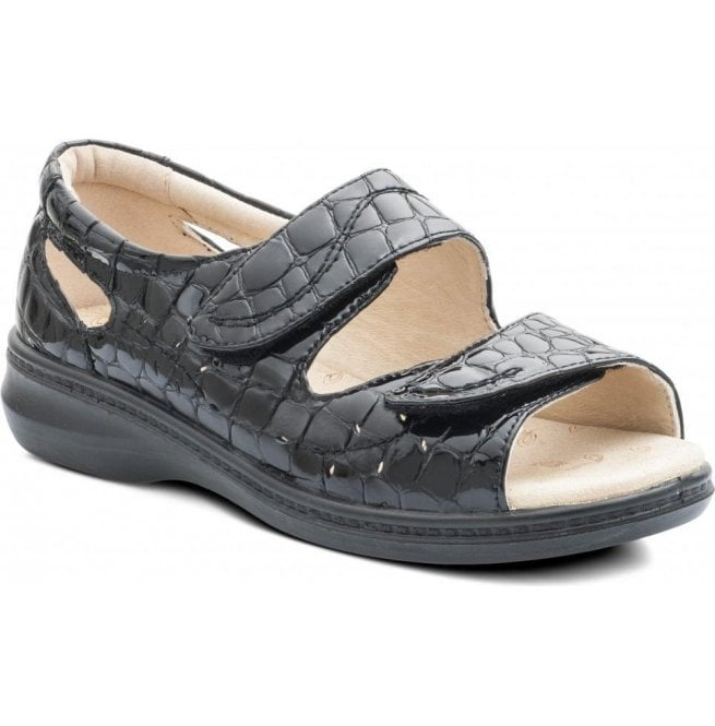 Padders Womens Wave Black Croc Patent Back In Velcro Sandals