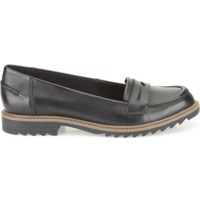 Clarks Womens Griffin Milly Black Leather Casual Shoes