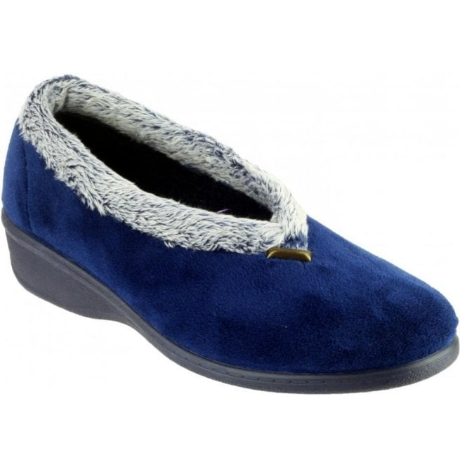 Cotswold Womens Broadway Navy Slippers