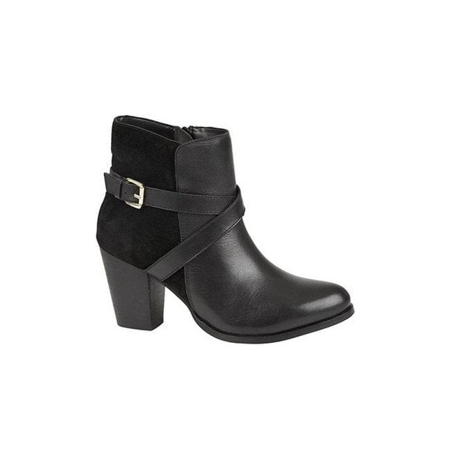 Mod Comfys Womens Black Zip Buckle Ankle Boots