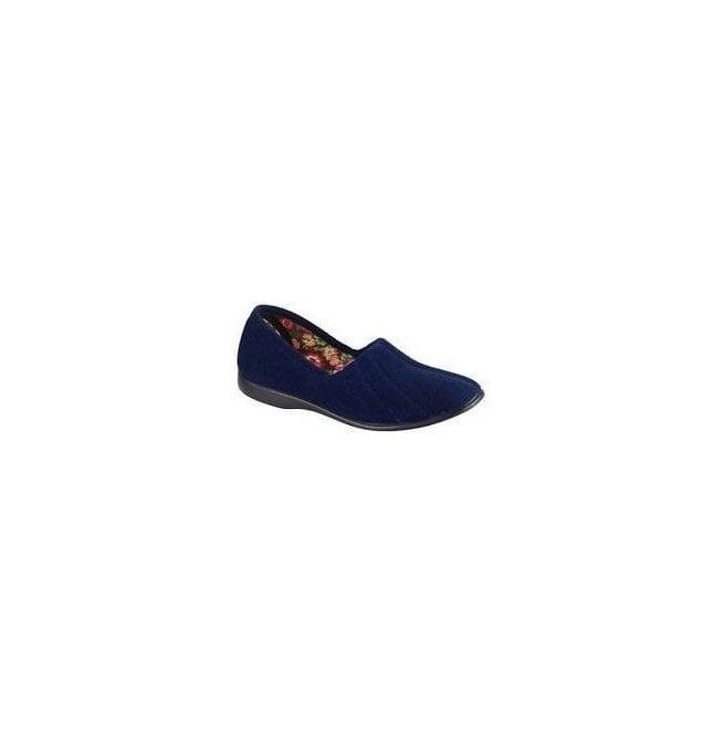 GBS Slippers Womens Audrey Navy Slip On Slippers