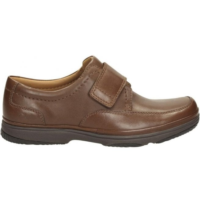 Clarks Mens Swift Turn Brown Leather Velcro Extra Wide H Fitting Shoes
