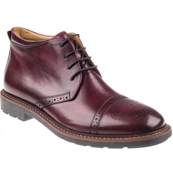 Steptronic Mens Lyon Burgundy Lace Up Ankle Boots