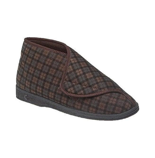 Comfylux Mens James Brown Check Velcro Slipper