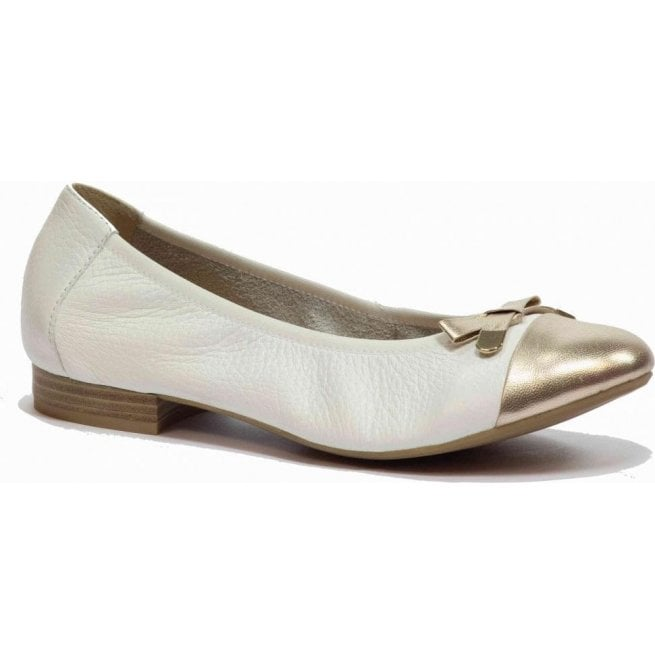 Caprice Womens White/Gold Leather Shoes 9-22152-26 190