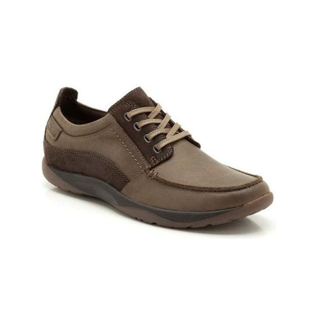 Clarks Mens Route Walk Brown Leather Lace-Up Shoes