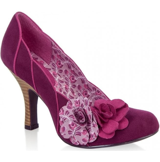 Ruby Shoo Womens April Plum Court Shoes With Flower Detail